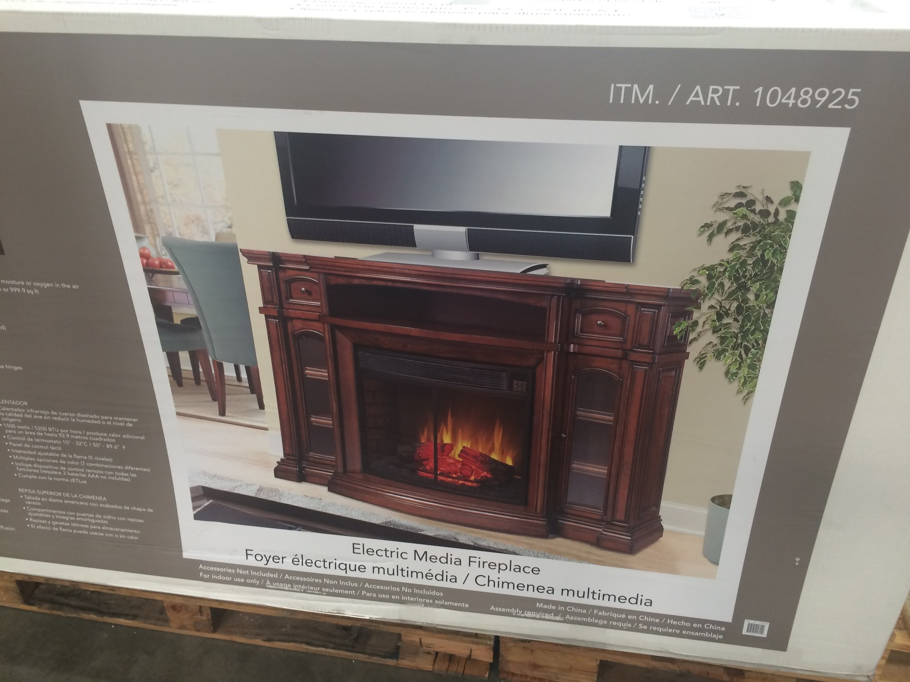 electric fireplace tv console at costco
