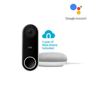 Nest Hello Video Doorbell with One-Year Nest Aware Subscription and Google Home Mini